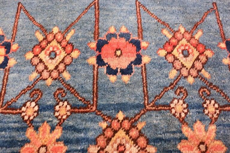 Hand-Knotted Antique Light Blue East Turkestan Khotan Rug For Sale