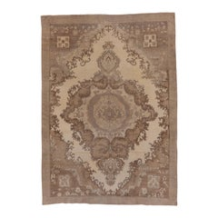 Antique Light Brown Turkish Oushak Rug with Medallion, Cream Field