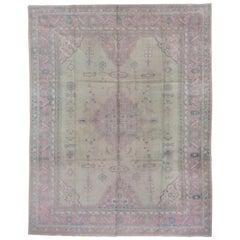 Antique Light Green Turkish Oushak Carpet