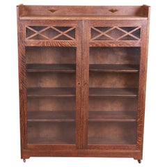 Antique Limbert Style Mission Oak Arts & Crafts Glass Front Double Bookcase