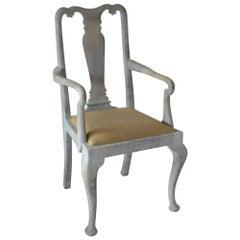 Antique Limed Oak Gustavian Style Urn Back Carver or Armchair