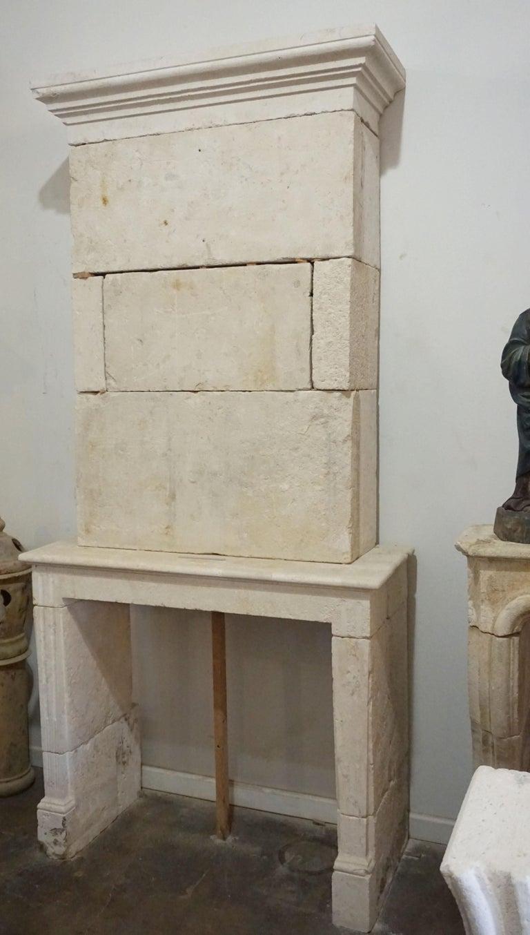 French limestone mantel, circa 1790.  Measurements: 96