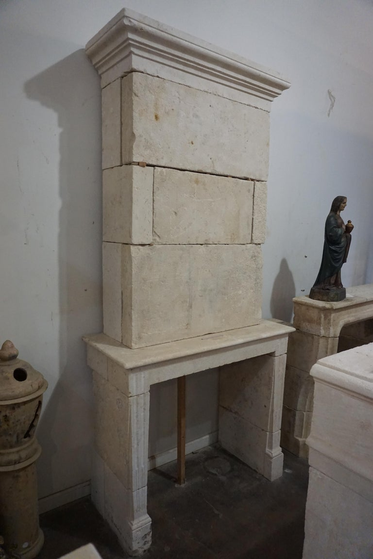 18th Century Antique Limestone Fireplace, circa 1790 For Sale