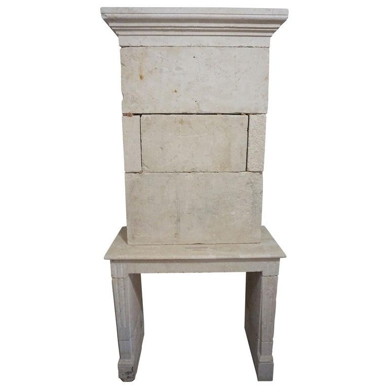 Antique Limestone Fireplace, circa 1790 For Sale