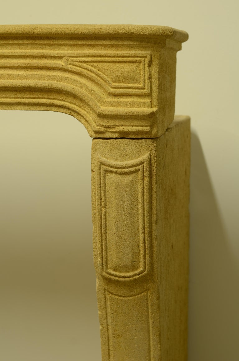 French Antique Limestone Fireplace from France, 19th Century For Sale