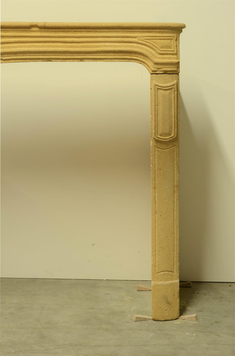 Antique Limestone Fireplace from France, 19th Century For Sale 2