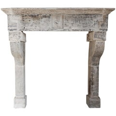 Antique Limestone Fireplace of French Limestone, Campagnarde Style