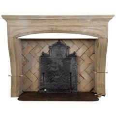 Antique Limestone Louis XIV Fireplace Mantel