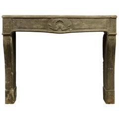 Antique Limestone Louis XVI Fireplace Mantel