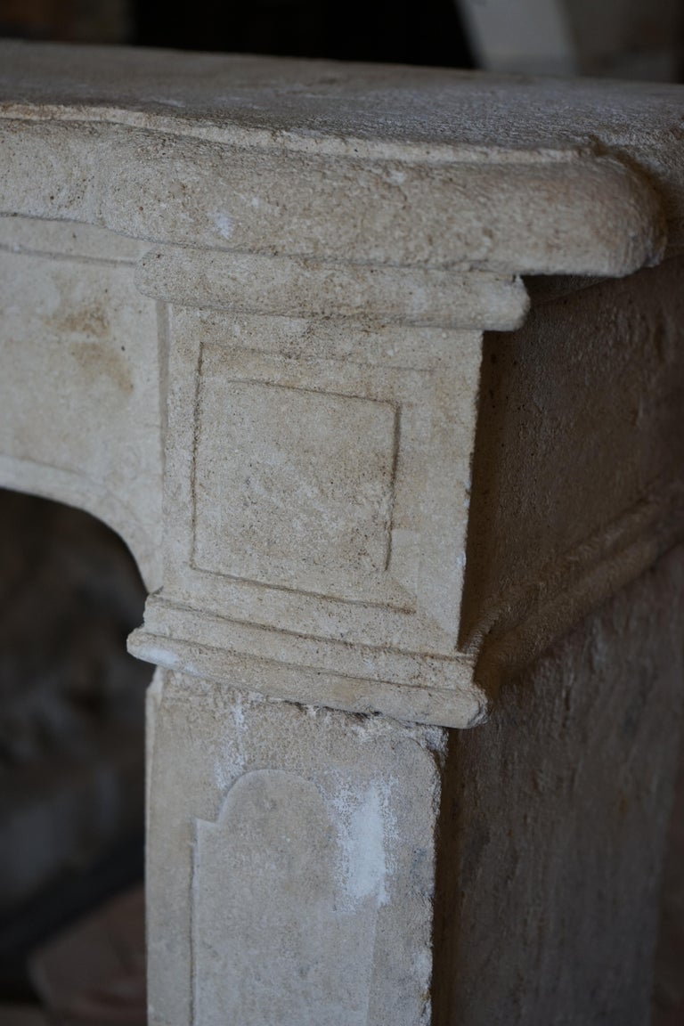 French Antique Limestone Mantel For Sale