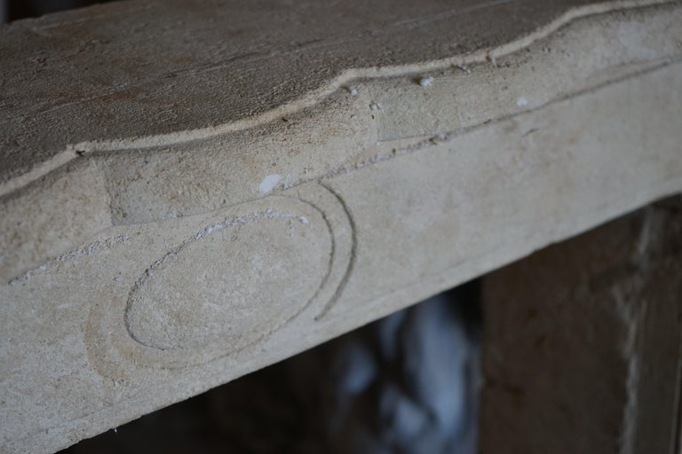 18th Century and Earlier Antique Limestone Mantel For Sale