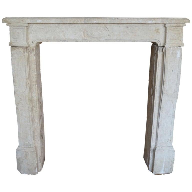 Antique Limestone Mantel For Sale