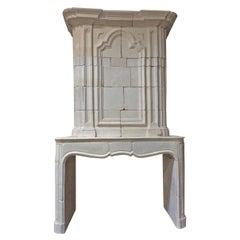 Antique Limestone Mantel with Trumeau
