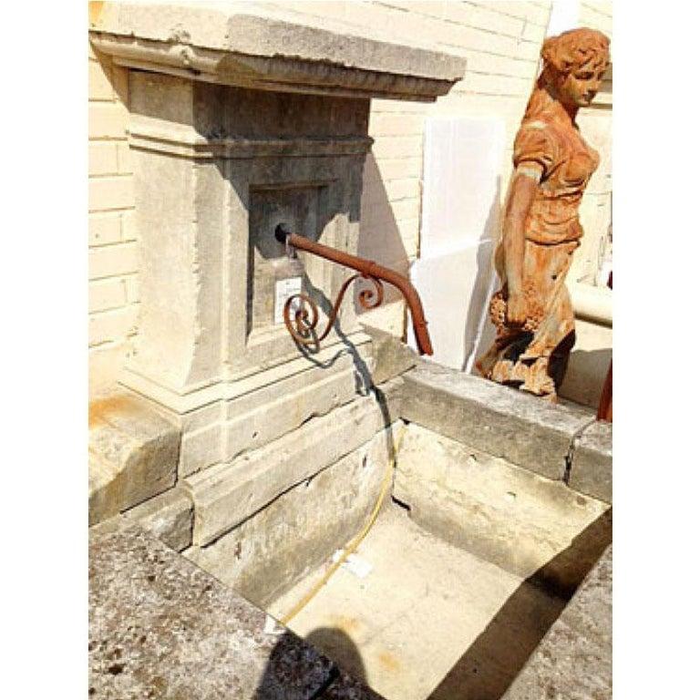 French Antique Limestone Wall Fountain, circa 1850 For Sale