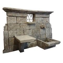 Antique Limestone Wall Fountain, circa 1780