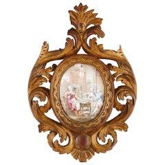 Antique Limoges Enamel Plaque in Rocaille Giltwood Frame