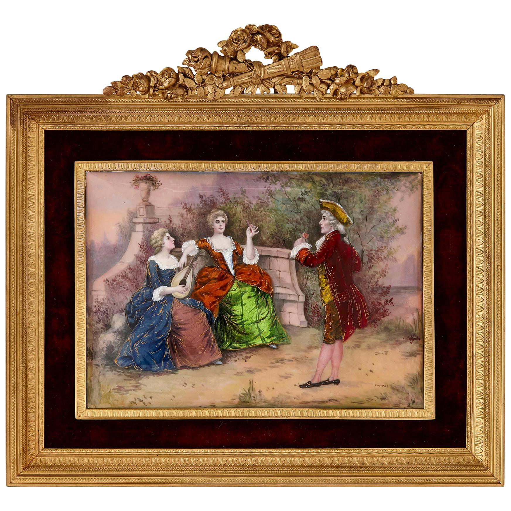 Antique Limoges Enamel Plaque of a Fête Galante
