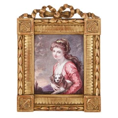 Antique Limoges Enamel Portrait of Woman and Lap Dog