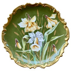 Antique Limoges France Daffodil Painting on Porcelain Cabinet or Wall Plate