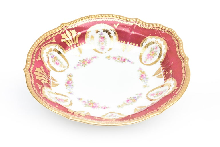 French Antique Limoges, France Soup Bowls, Striking Color and Hand Painted Details For Sale