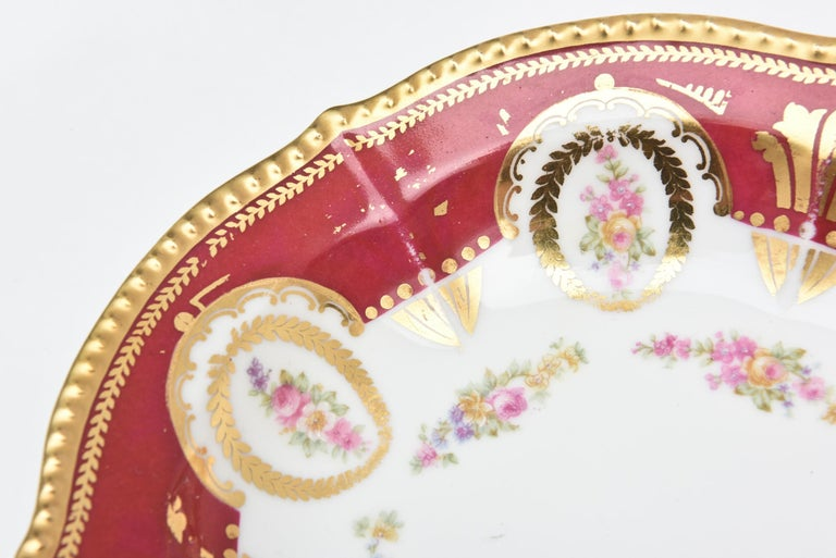 Hand-Crafted Antique Limoges, France Soup Bowls, Striking Color and Hand Painted Details For Sale