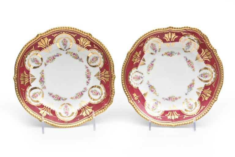 Antique Limoges, France Soup Bowls, Striking Color and Hand Painted Details For Sale 1