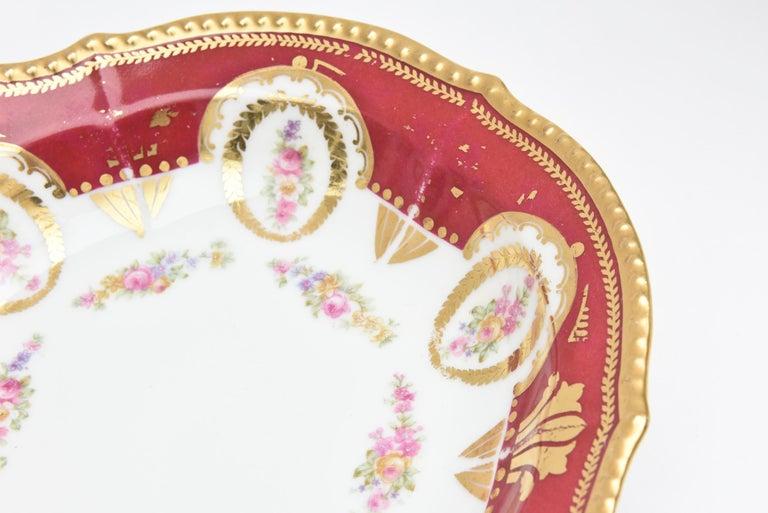 Antique Limoges, France Soup Bowls, Striking Color and Hand Painted Details For Sale 2