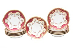 Antique Limoges, France Soup Bowls, Striking Color and Hand Painted Details