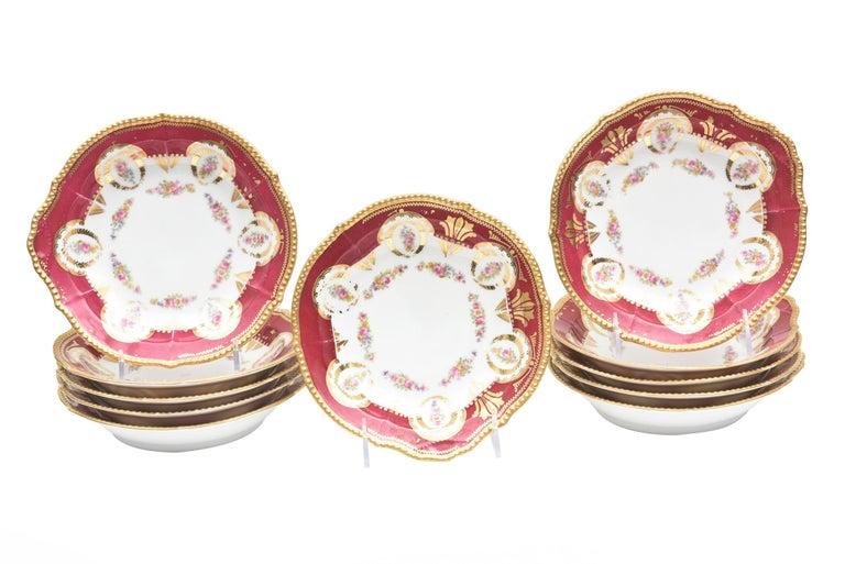 Antique Limoges, France Soup Bowls, Striking Color and Hand Painted Details For Sale