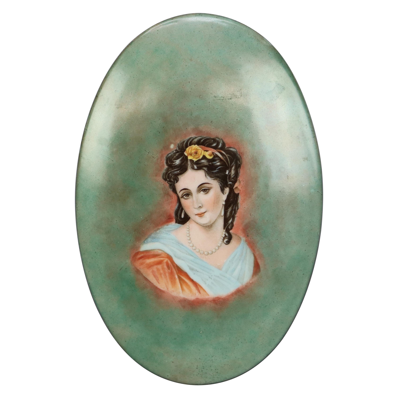 Antique Limoges French Porcelain Hand Painted Portrait Plaque, c1890