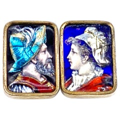 Antique Limoges Neorenaissance Enamel Soldier Beauty Buttons Cufflinks