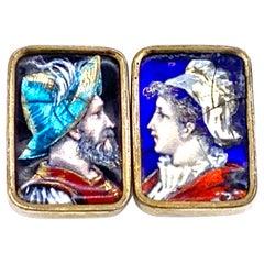 Antique Limoges Neorenaissance Enamel Soldier Beauty Buttons Cufflinks