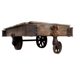 Antique Lineberry Cart Coffee Table Industrial Cast Iron & Wood N Carolina 1940s