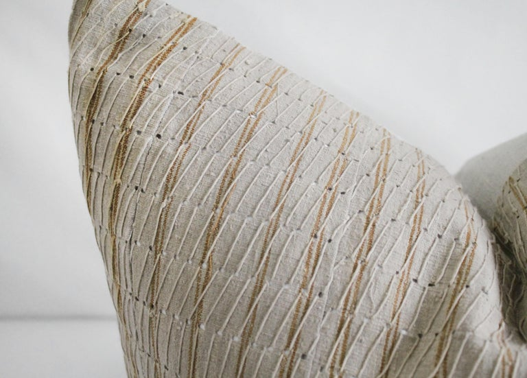 Antique stripe linen and cotton textured pillow sham natural and dark golden brown stripe. This cotton face features a deep gold stripe, natural linen colored background with original threaded string. The backing is 100% Irish linen in natural