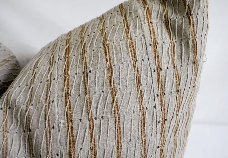 Antique Linen and Cotton Textured Pillow Sham Natural with Brown Stripe In Good Condition For Sale In Brea, CA
