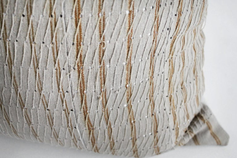 20th Century Antique Linen and Cotton Textured Pillow Sham Natural with Brown Stripe For Sale
