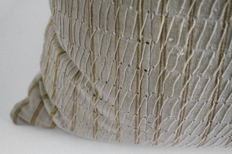 Antique Linen and Cotton Textured Pillow Sham Natural with Brown Stripe For Sale 1