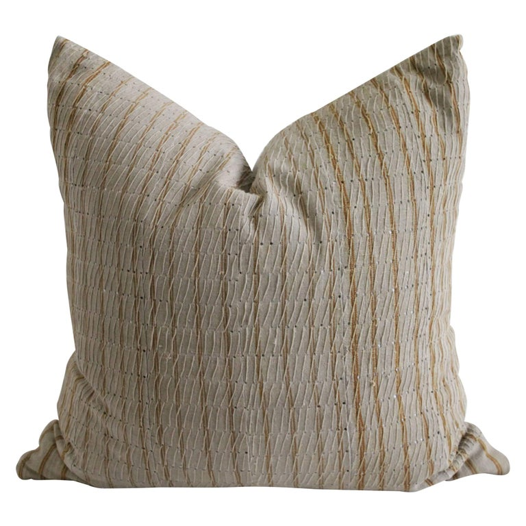Antique Linen and Cotton Textured Pillow Sham Natural with Brown Stripe For Sale