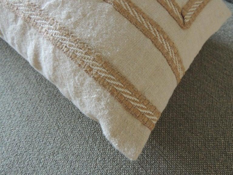 French Antique Linen Decorative Bolster Pillow with Vintage Jute Trim For Sale