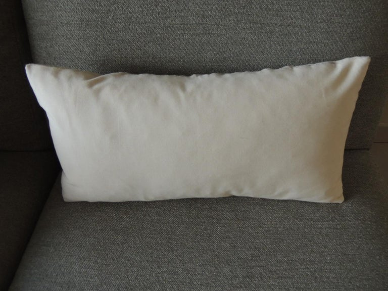 Hand-Crafted Antique Linen Decorative Bolster Pillow with Vintage Jute Trim For Sale
