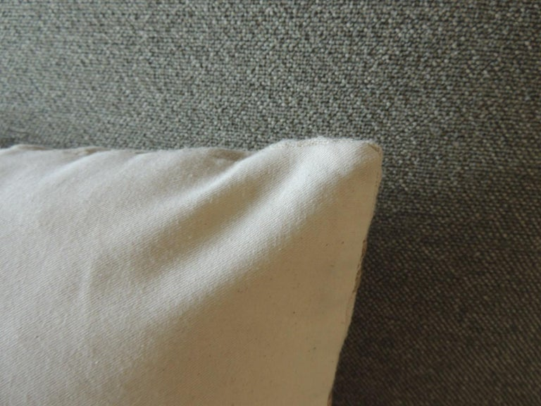 Antique Linen Decorative Bolster Pillow with Vintage Jute Trim In Good Condition For Sale In Wilton Manors, FL