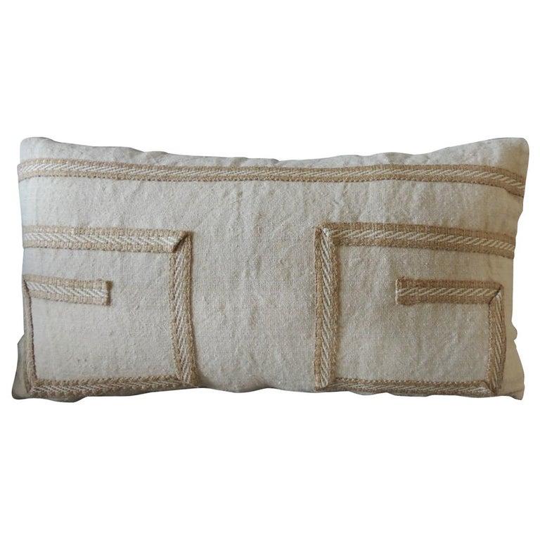 Antique Linen Decorative Bolster Pillow with Vintage Jute Trim For Sale
