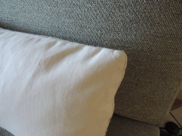 Hand-Crafted Antique Linen Decorative Bolster Pillow with Vintage Woven Jute Trim For Sale