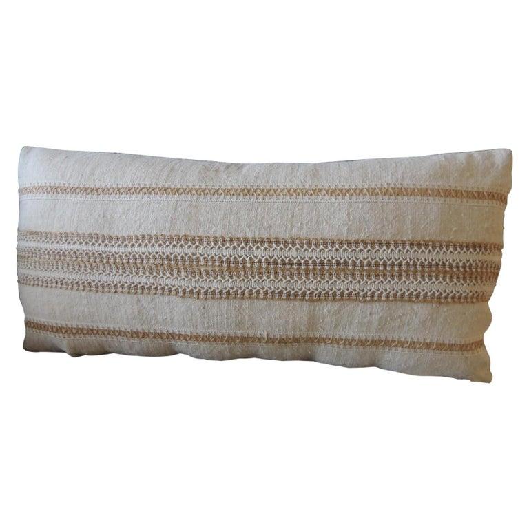 Antique Linen Decorative Bolster Pillow with Vintage Woven Jute Trim For Sale