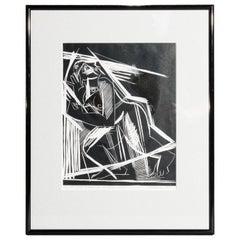 Antique Lino-Cut Cubist School Expressionist Woodblock Print Signed, 20th C