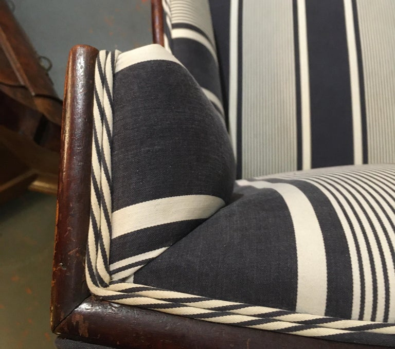 Antique Lion Paw Armchair in French Stripe Fabric For Sale 6