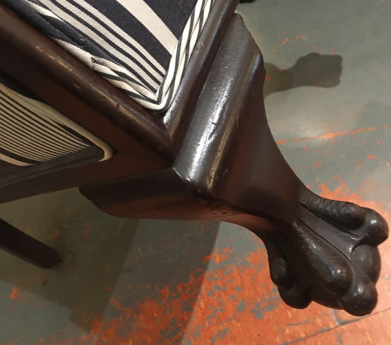 Antique Lion Paw Armchair in French Stripe Fabric For Sale 7