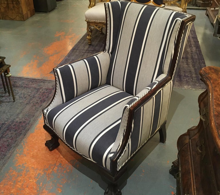 Antique Lion Paw Armchair in French Stripe Fabric In Good Condition For Sale In Seattle, WA