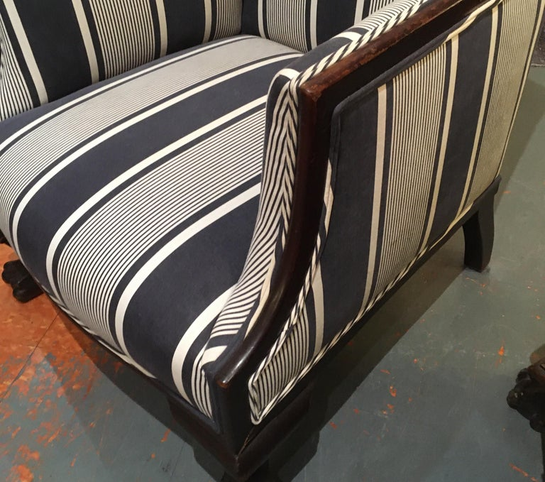 19th Century Antique Lion Paw Armchair in French Stripe Fabric For Sale