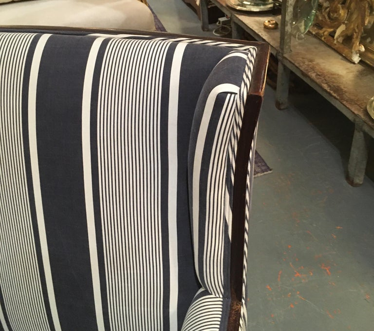 Antique Lion Paw Armchair in French Stripe Fabric For Sale 2